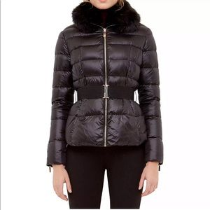 Ted Baker Faux Fur Collar Quilted Feather Jacket